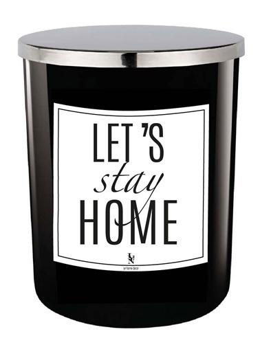 Lyn Home & Decor Let's Stay Home Beyaz Mum Siyah Siyah